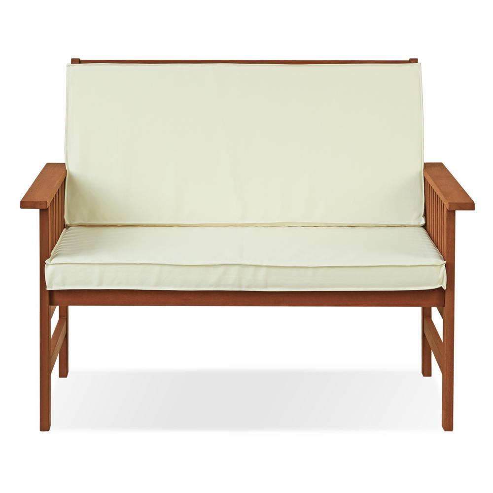 Tioman Hardwood Outdoor Mediterranean Bench with Beige Cushion
