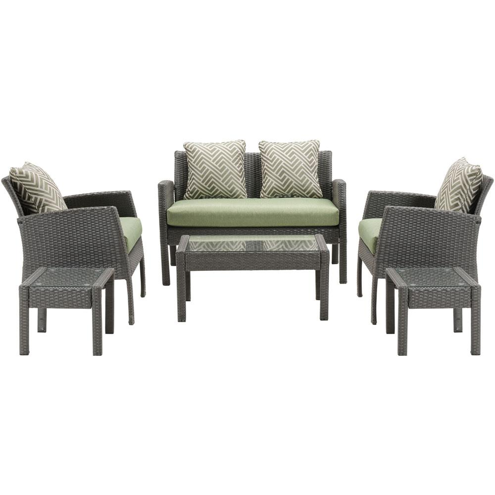 Sophie 6-Piece Wicker Patio Seating Set with Avocado Toast Cushions
