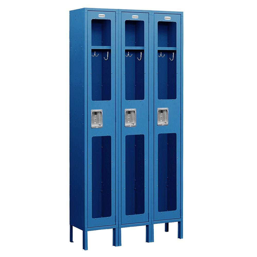 Salsbury Industries S-61000 Series 36 in. W x 78 in. H x 12 in. D Single Tier See-Through Metal Locker Unassembled in Blue