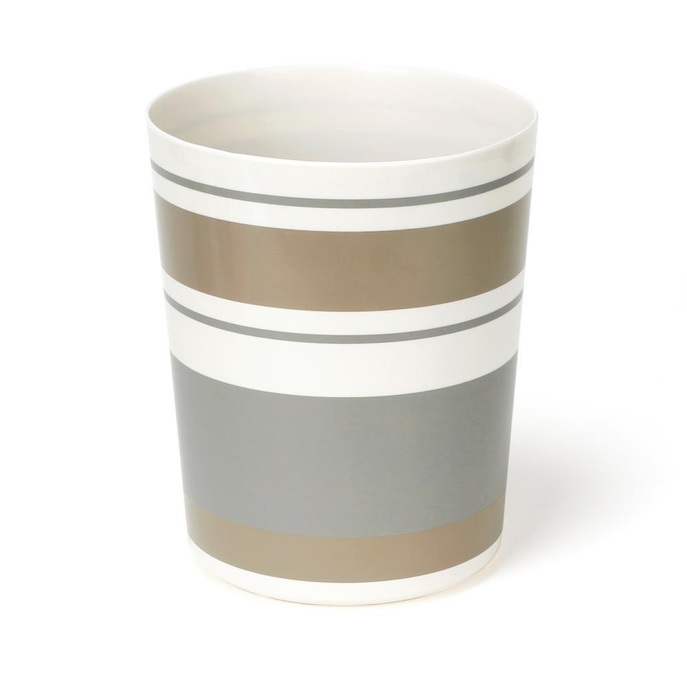Colorware Stripe Freestanding Wastebasket in Gray