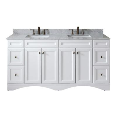 Virtu USA Talisa 72 in. W Double Bath Vanity in White with Marble Vanity Top and Square Basin with Faucet
