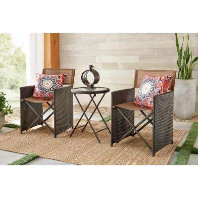 Montrose 3-Piece Folding Wave Glass Bistro Set