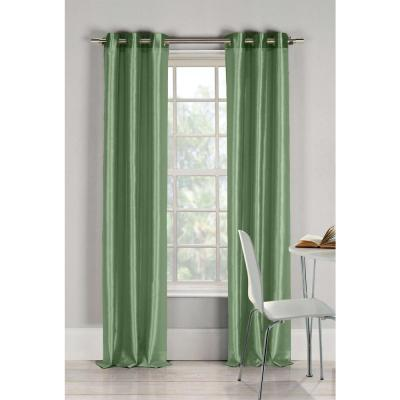 Semi-Opaque Bali 84 in. L Faux Silk Panel in Sage (2-Pack)