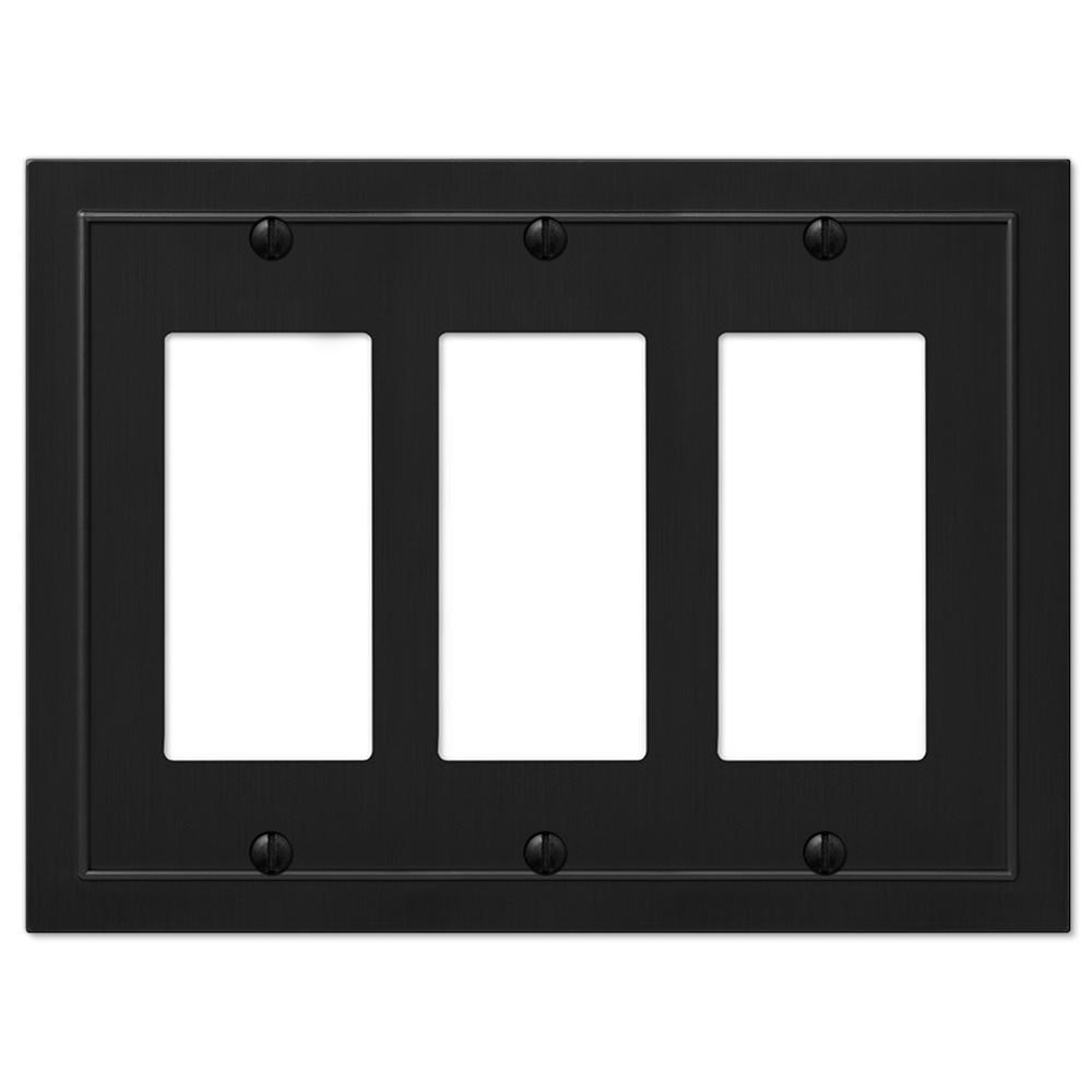 Bethany 3 Gang Rocker Metal Wall Plate - Black
