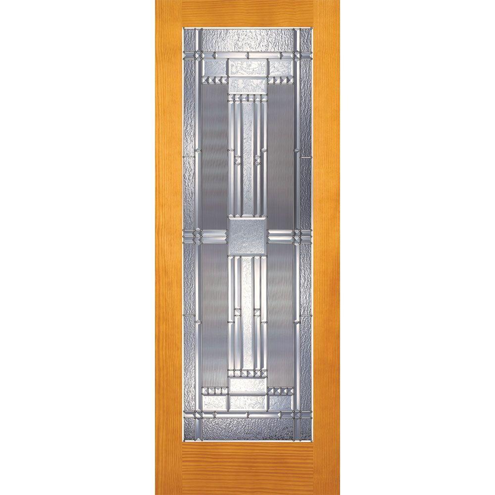 Feather River Doors 28 in. x 80 in. Preston Zinc Woodgrain 1 Lite Unfinished Pine Interior Door Slab