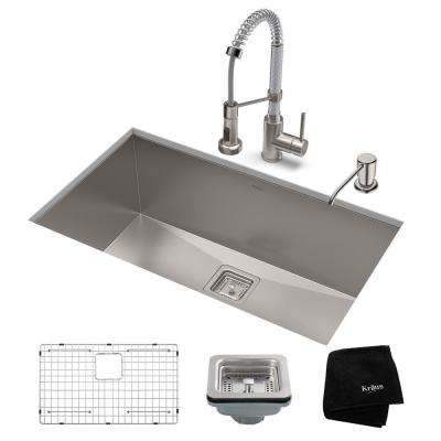 Pax All-in-One Undermount Stainless Steel 31 in. Single Bowl Kitchen Sink with Faucet in Stainless Steel/Chrome