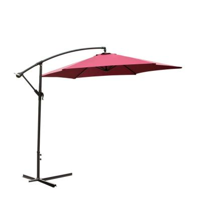 10 ft. Hanging Umbrella Patio Garden Beach Shade with Cross Base in Red
