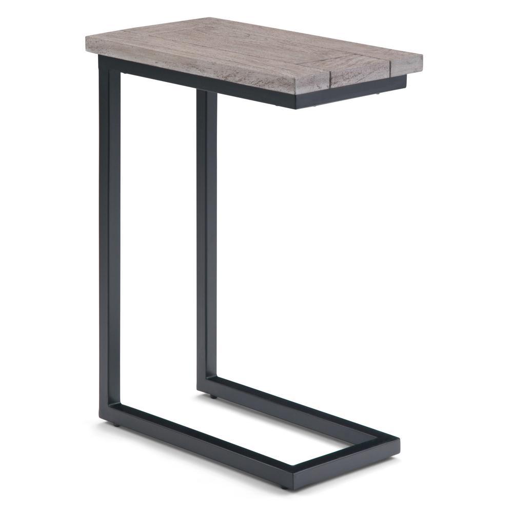 Skyler Solid Mango Wood and Metal 18 in. Wide Industrial C Side Table in Birch