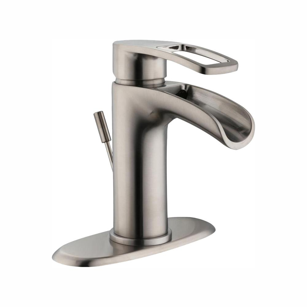 Glacier bay kiso single hole single handle low arc - Single hole bathroom faucets brushed nickel ...