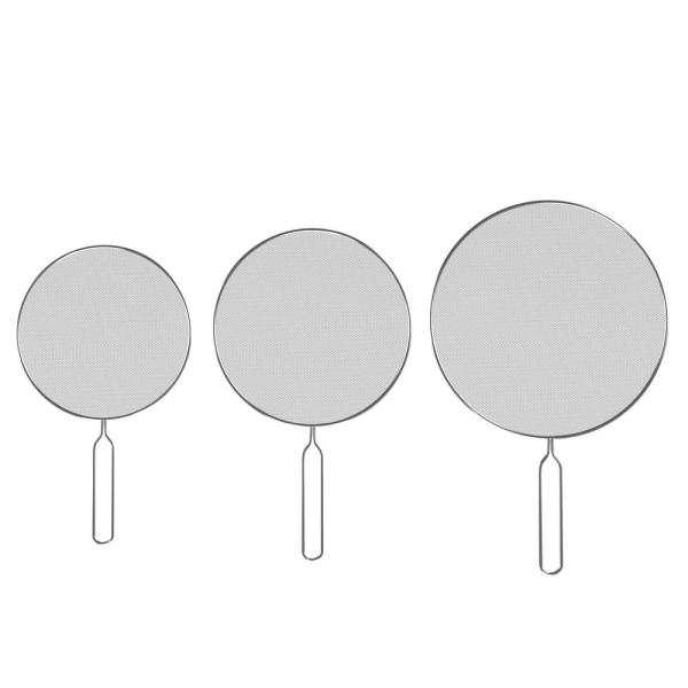 Classic Cuisine Stainless Steel Mesh Silver Splatter Screen Guards (3-Pack)