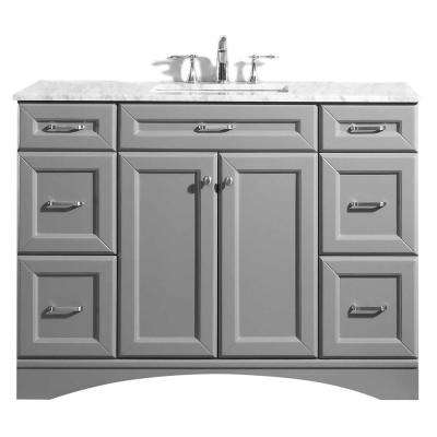 Naples 48 in. W x 22 in. D Vanity in Grey with White Marble Vanity Top in White with White Basin