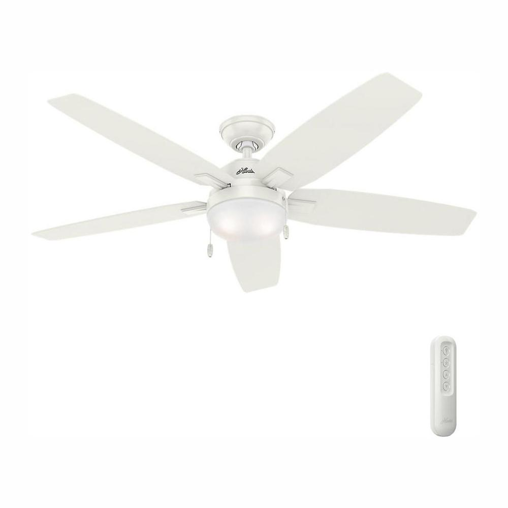 Hunter Antero 54 in. LED Indoor Fresh White Ceiling Fan with Light Bundled with Handheld Remote ControlLight