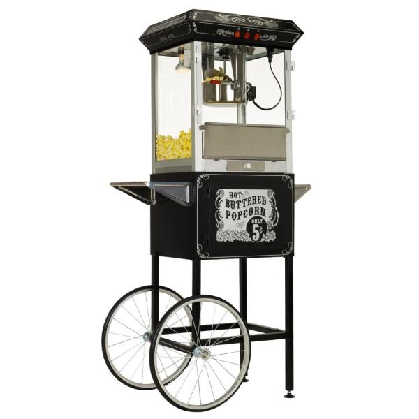 Carnival Style 8 oz. Black and Silver Popcorn Machine with Cart