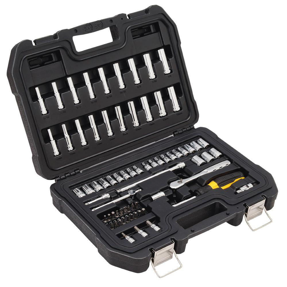 1/4 in. Drive SAE and Metric Socket Set (69-Piece)