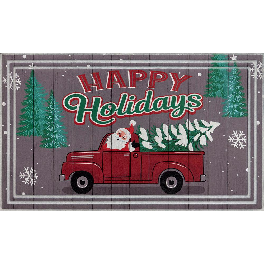 Home Accents Holiday Santa's Tree Delivery 18 in. x 30 in. Gray Door Mat