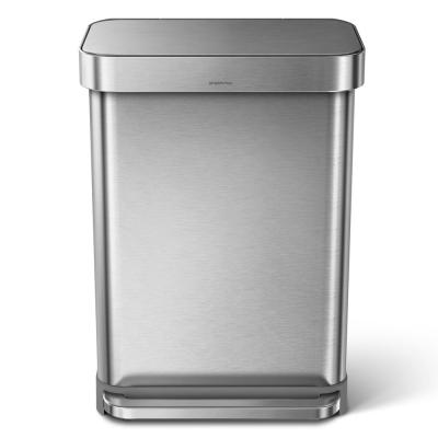 55-Liter Nano-Silver Clear Coat Brushed Stainless Steel Rectangular Liner Rim Step-On Trash Can