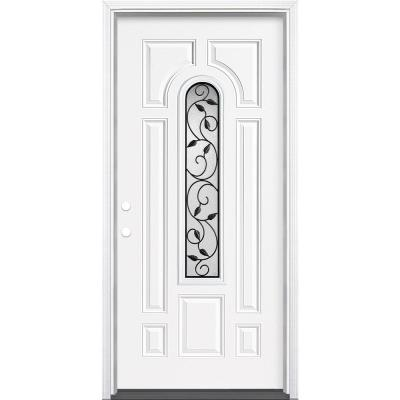 36 in. x 80 in. Pergola Center Arch-Lite Right-Hand Inswing Primed Steel Prehung Front Exterior Door with Brickmold