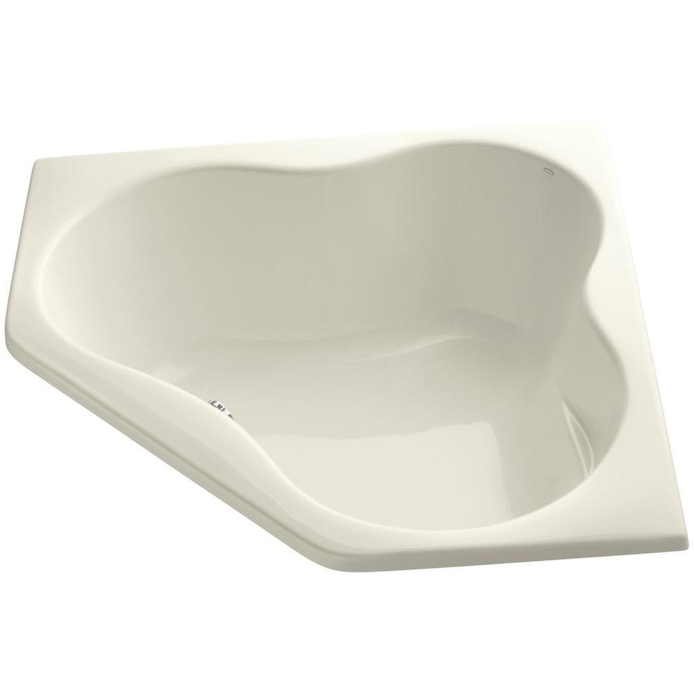5454 4.5 ft. Corner Drop-in Center Drain Soaking Tub in Biscuit
