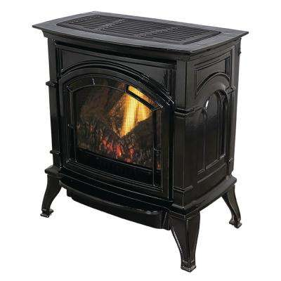 31,000 BTU Vent Free Natural Gas Stove Black Enameled Porcelain Cast Iron