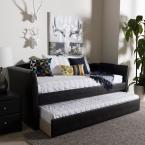 Baxton Studio Camino Contemporary Black Faux Leather Upholstered Twin Size Daybed