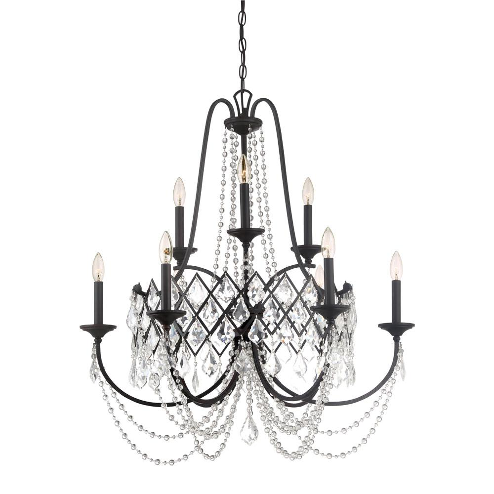 Designers Fountain Ravina 9 Light Vintage Bronze Chandelier With Faceted Crystal Accents Shade