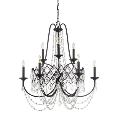 Ravina 9-Light Vintage Bronze Chandelier with Faceted Crystal Accents Shade