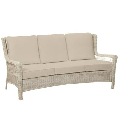 Park Meadows Off-White Wicker Outdoor Patio Sofa with CushionGuard Putty Tan Cushions