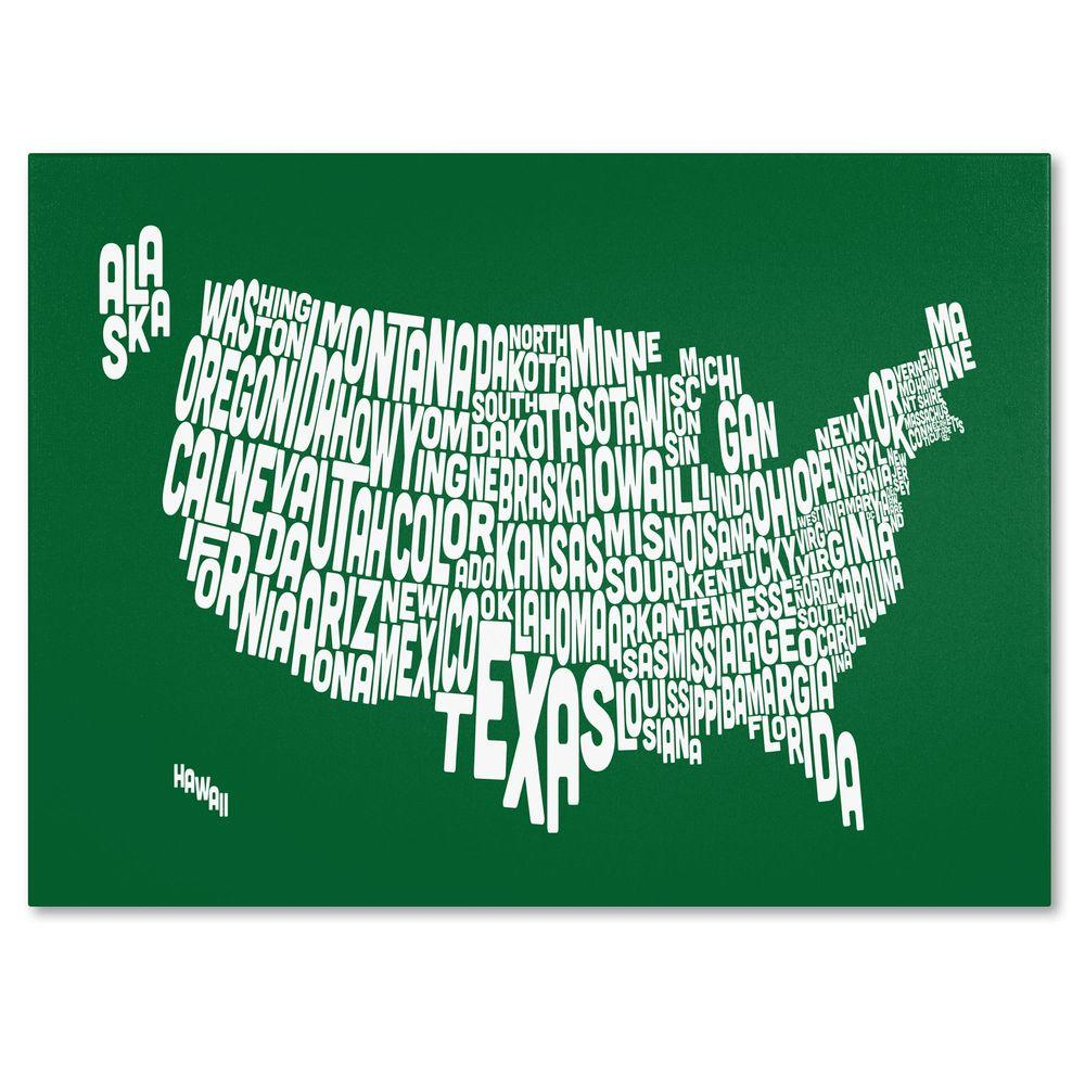 Trademark Fine Art 14 in. x 19 in. USA States Text Map - Forest Canvas Art