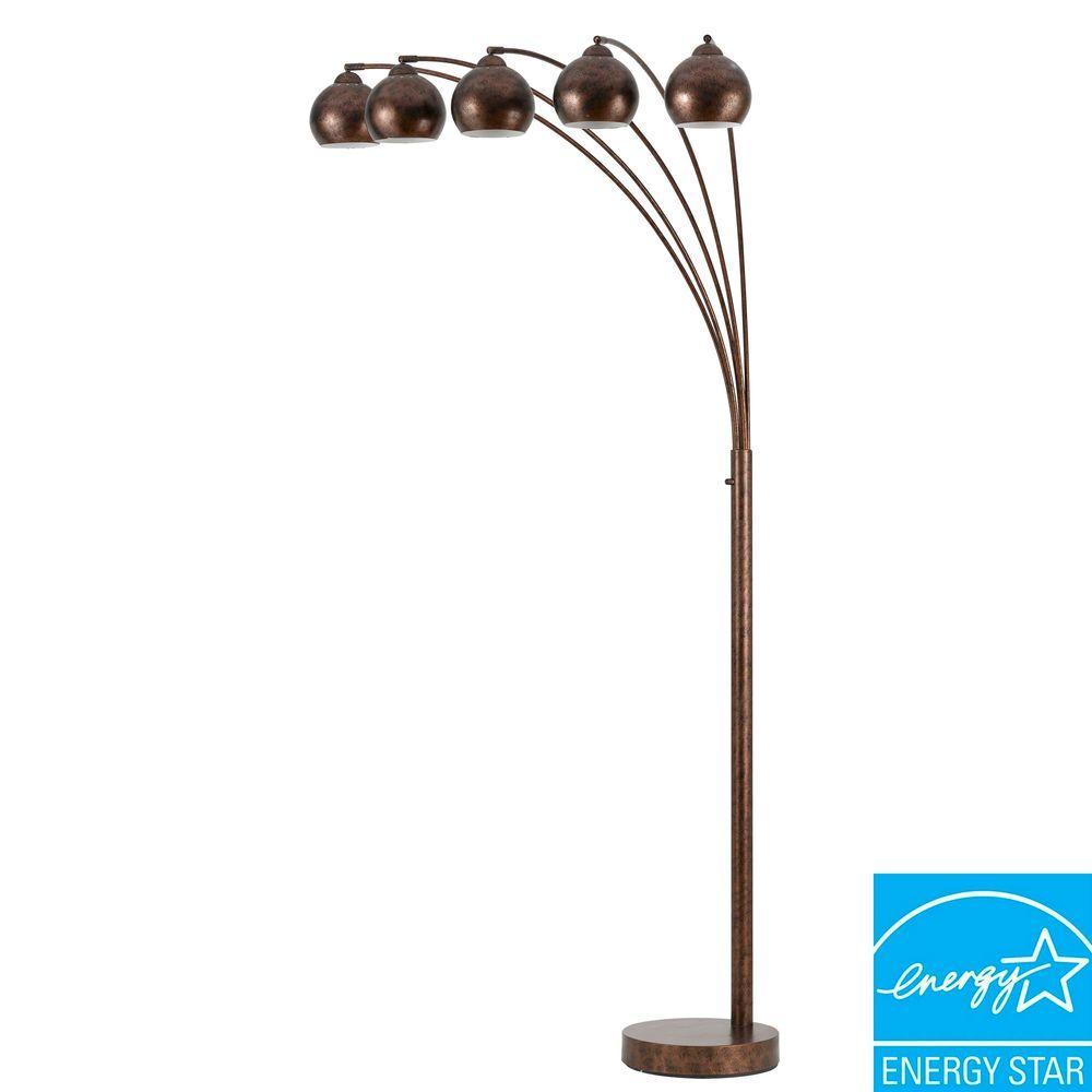 Arc 76 in. Rust Floor Lamp with Metal Shade