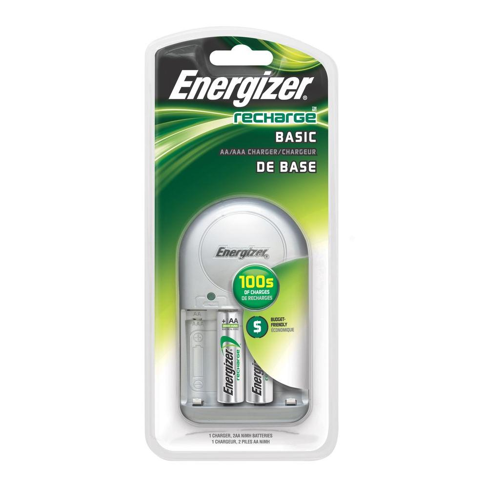 Energizer AA/AAA NiMH Rechargeable Charger with 2 AA Batteries Included