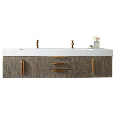 Mercer Island 72 in. W Double Bath Vanity Ash Gray-Gold with Solid Surface Vanity Top in Matte White with White Basin