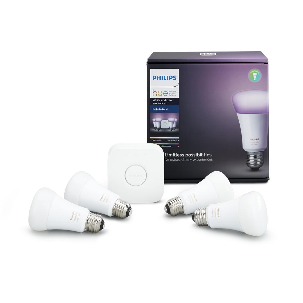 philips hue white and color ambiance 60 watt equivalent a19 smart light bulb starter kit 4 pack. Black Bedroom Furniture Sets. Home Design Ideas