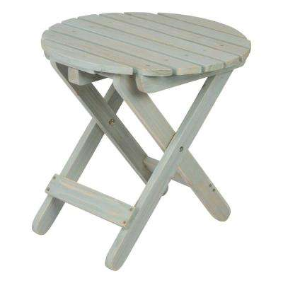 Rustic Dutch Blue Round Wood Folding Table