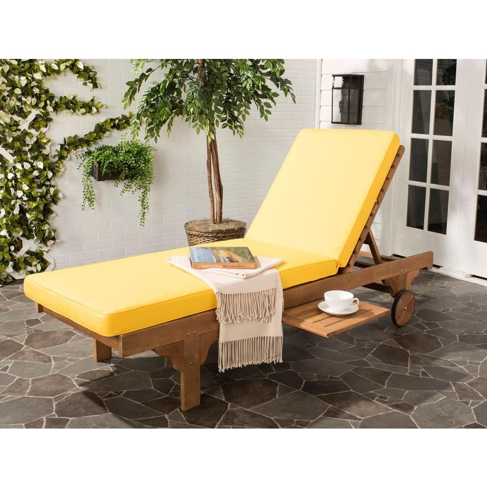 Bon Safavieh Newport Teak Brown Outdoor Patio Chaise Lounge Chair With Yellow  Cushion