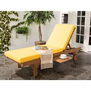 Safavieh Newport Teak Brown Outdoor Patio Chaise Lounge Chair with Yellow Cushion-PAT7022A - The Home Depot  sc 1 st  Home Depot : yellow chaise - Sectionals, Sofas & Couches