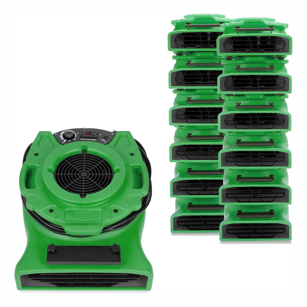 B-Air 1/4 HP Low Profile Air Mover for Water Damage Restoration Carpet Dryer Floor Blower Fan in Green (30-Pack)