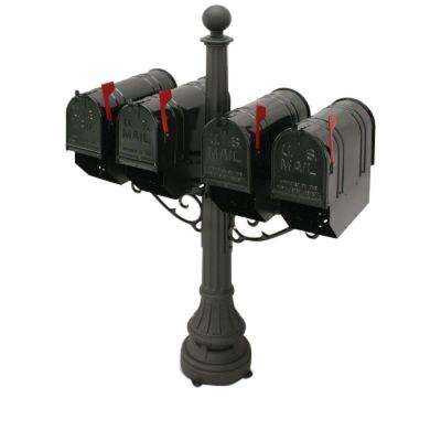 Eastport 4-Compartment Steel Black Colonial Mailbox and Post
