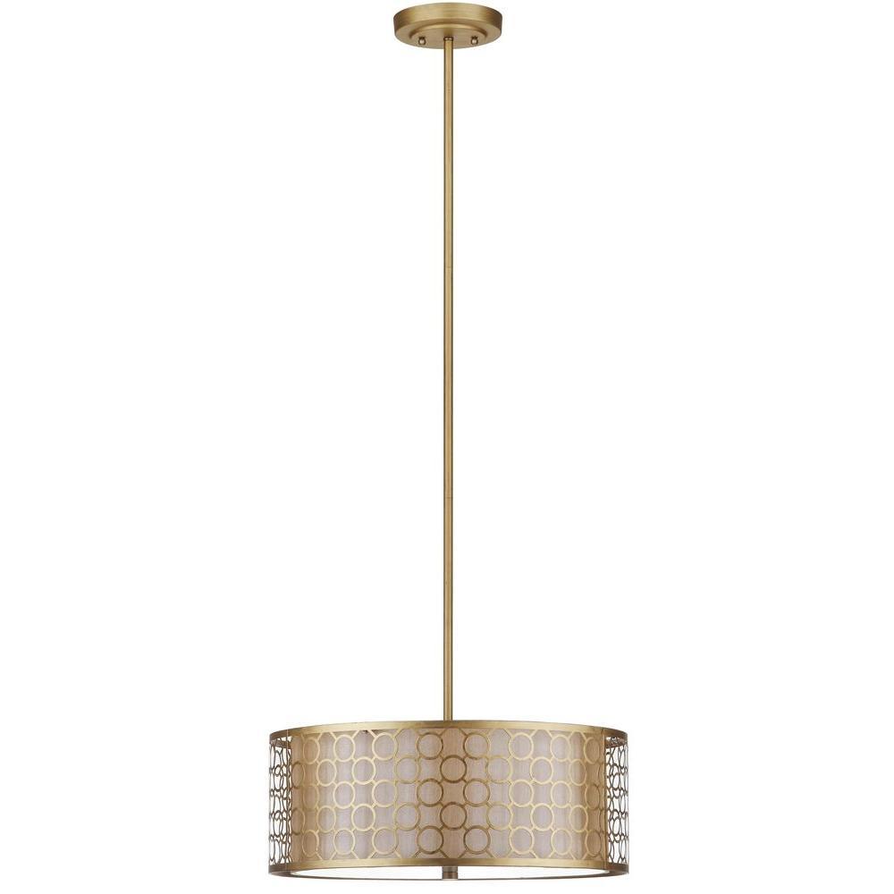 Giotta Drum 3-Light Antique Gold Pendant