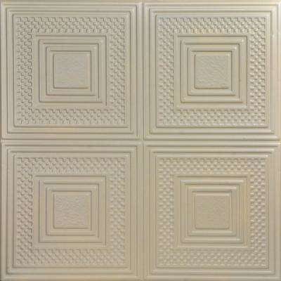 Nested Squares 1.6 ft. x 1.6 ft. Glue Up Foam Ceiling Tile in Lenox Tan