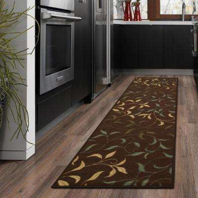 Ottohome Collection Contemporary Leaves Design Chocolate 2 Ft X 5 Runner Rug