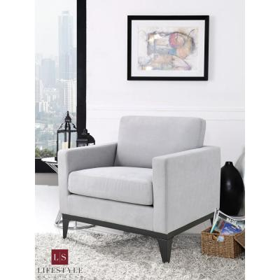 Delray Large Chair With Hardwood Frame & Quality Fabric, Light Grey