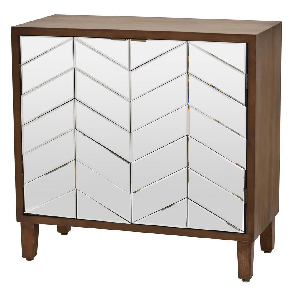 32.5 in. 2 Doors Brown Wood Cabinet