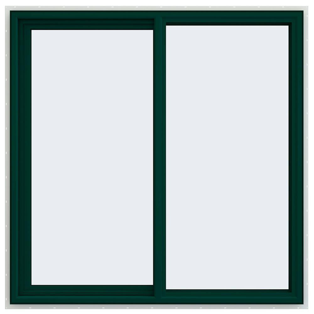 JELD-WEN 47.5 in. x 47.5 in. V-4500 Series Left-Hand Sliding Vinyl Window - Green