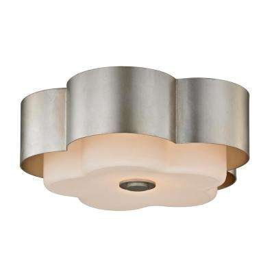 Allure 2-Light Silver Leaf Celling Flushmount with Opal White Glass Shade