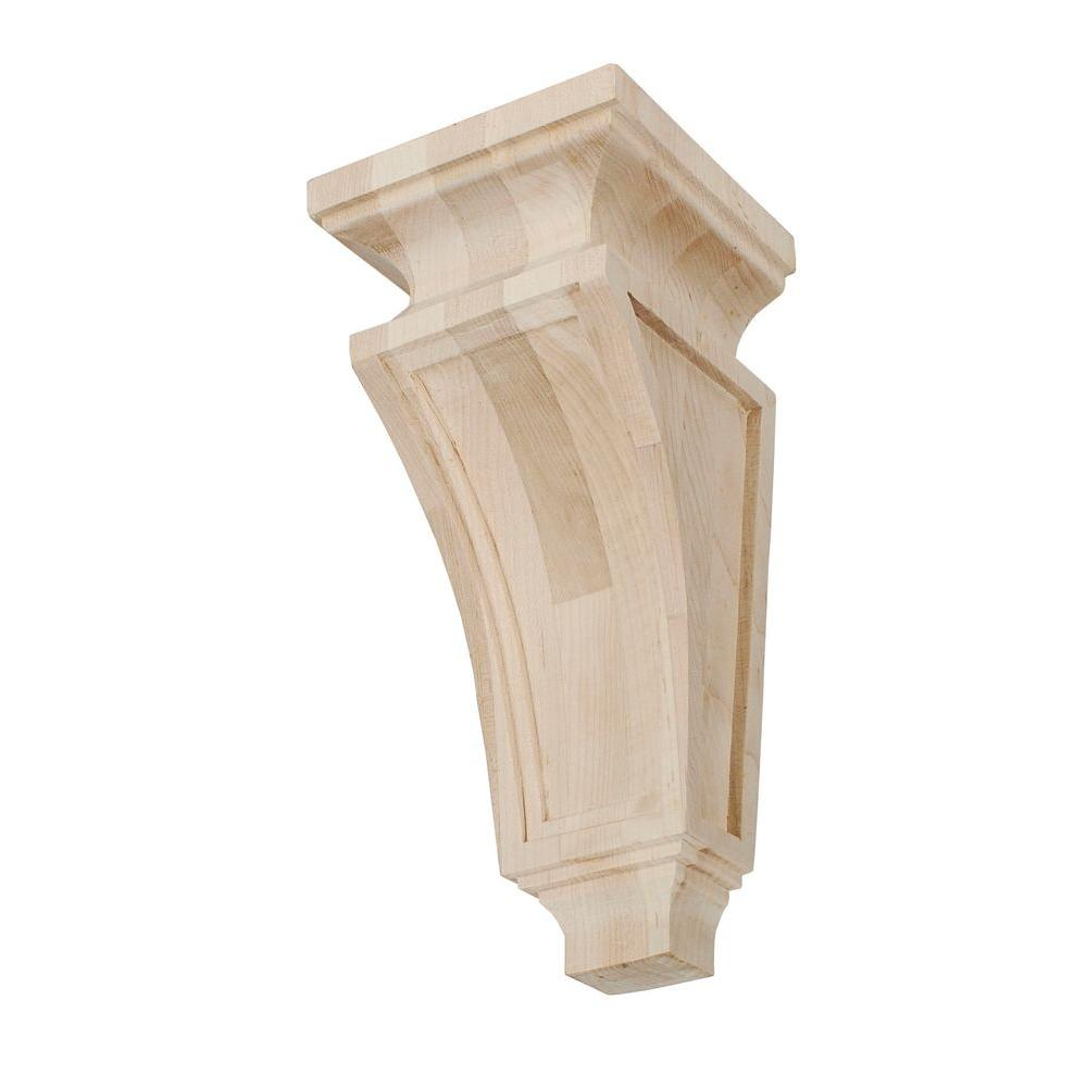 American Pro Decor 13 in. x 5-1/4 in. x 5-1/4 in. Unfinished Large North American Solid Hard Maple Mission Wood Corbel