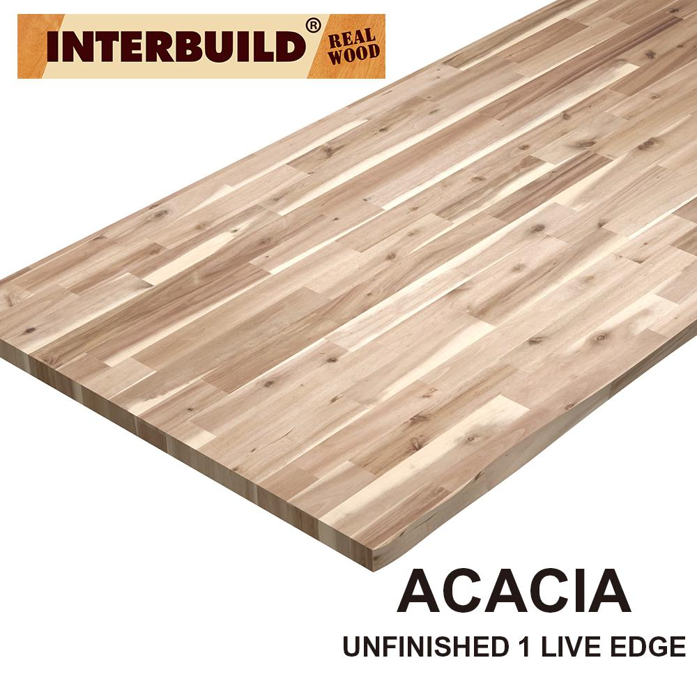 Interbuild Acacia 6 Ft L X 25 In D X 1 5 In T Butcher Block Countertop In Natural Wood Grain With Live Edge Pnl03006 The Home Depot