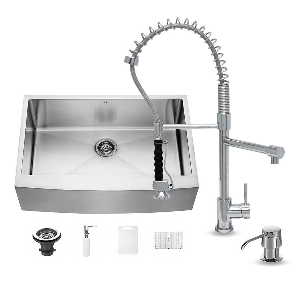 VIGO All-in-One Farmhouse Apron Front Stainless Steel 33 in. 0-Hole Single Bowl Kitchen Sink and Faucet Set in Chrome