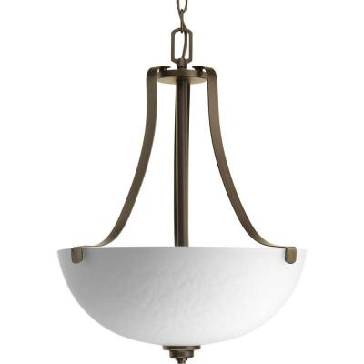 Legend Collection 3-Light Antique Bronze Foyer Pendant with Sculpted Glass
