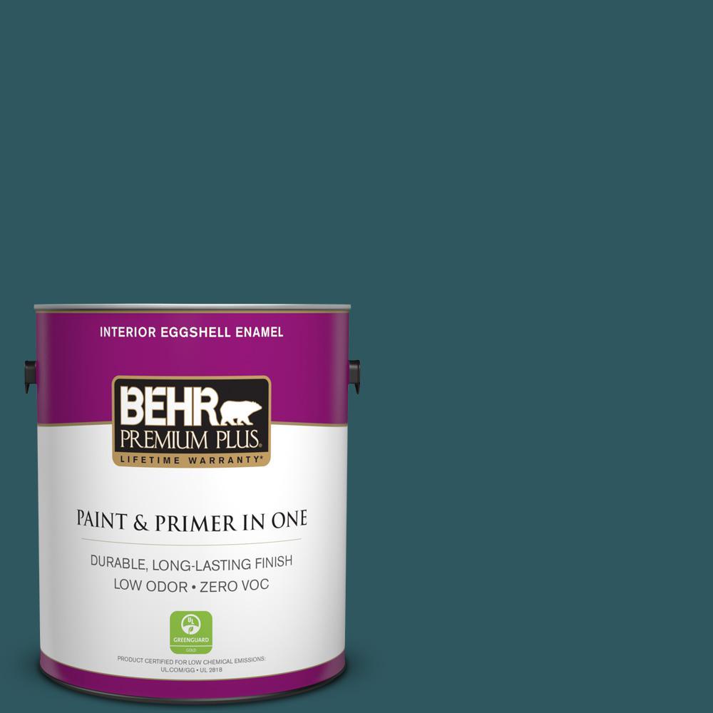 BEHR Premium Plus 1-gal. #PPF-56 Terrace Teal Zero VOC Eggshell Enamel Interior Paint