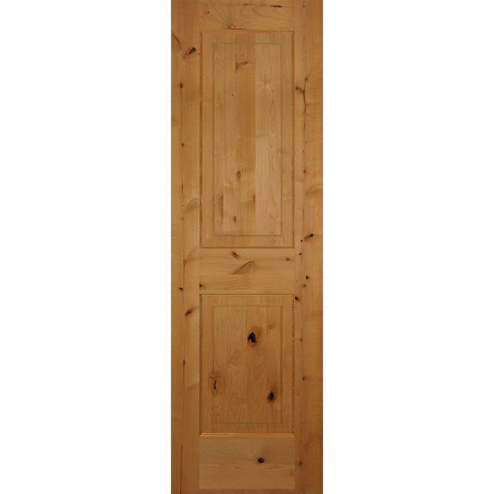 24 in. x 80 in. 2-Panel Square Top Solid Core Knotty